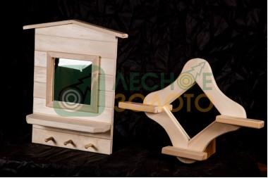 Зеркало с полкой малое (липа)(1)