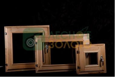 Оконный блок 80х100 с перемыч.(1-открыв.)стеклопакет (липа)