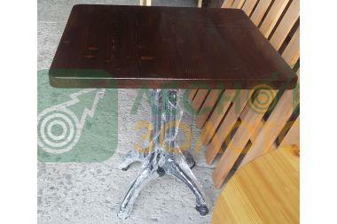 Стол 800х800 чугун. ножки (ЛЗ) (лак) лиственн щит