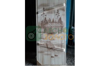 Дверь банная клиновая осина 700х1800, сорт А, с рисунком