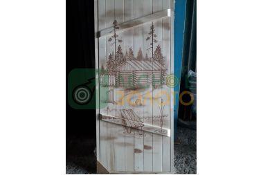 Дверь банная клиновая осина 700х1700, сорт А, с рисунком