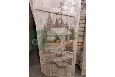 Дверь банная клиновая осина 800х1700, сорт А, с рисунком