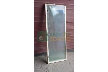 Дверь сатин бел. матов. 8мм 700х1900 3 петли+кор осина
