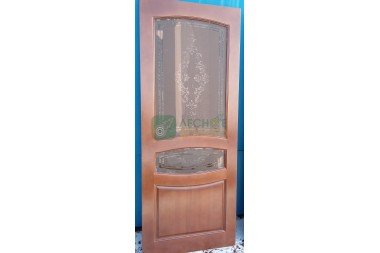 Дверь ДО Виктория  800х2000 дуб,стекло бронза матовое с рисунком с 2-х сторон уценка