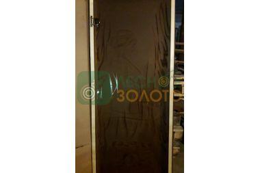 Дверь Стекло бронза с рис.Очаг 6мм 680х1800 коробка листв.